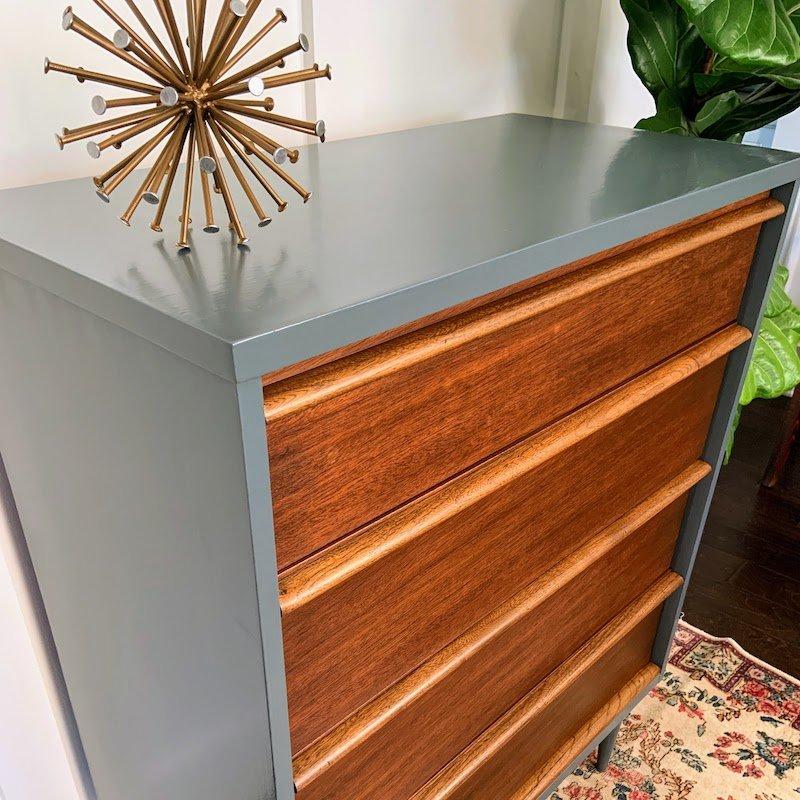 refinished midcentury modern dresser