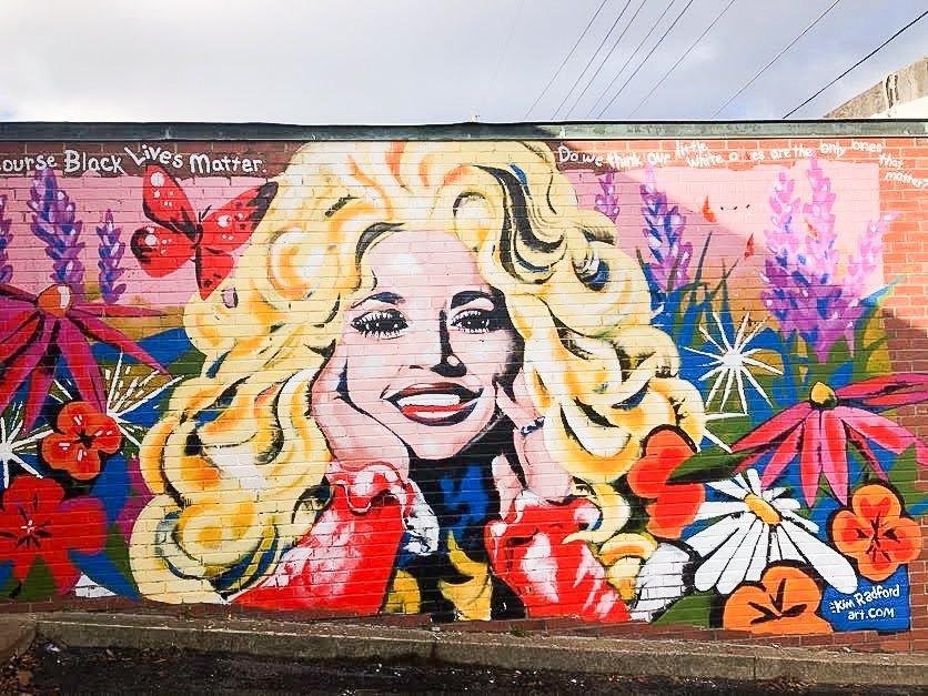 dolly parton wall mural east nashville