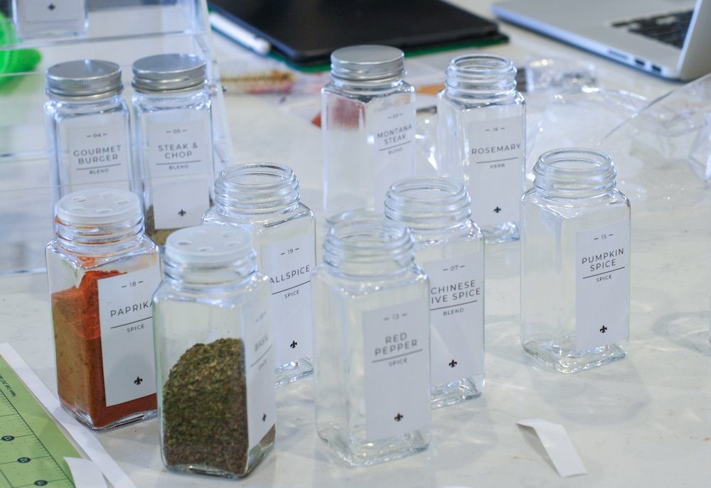 spice bottles with custom labels