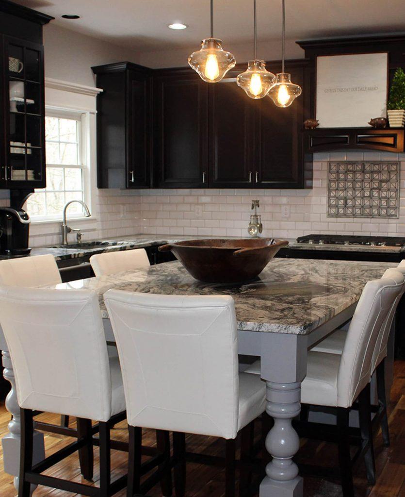 custom kitchen with osborne wood legs
