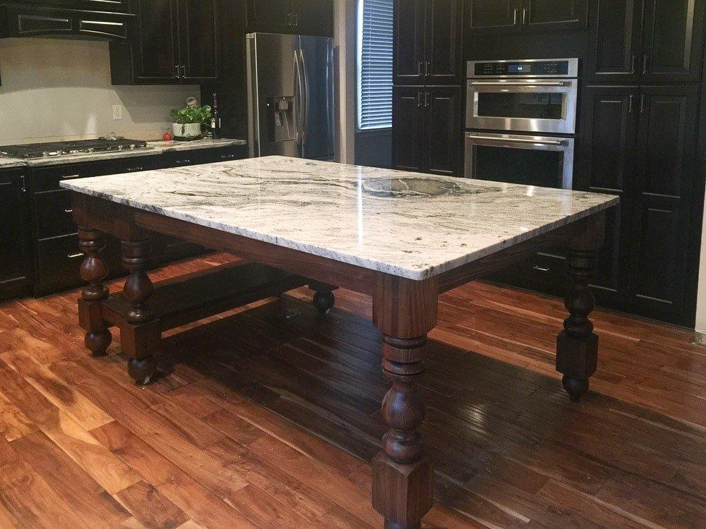 Custom stain mix and granite on kitchen island