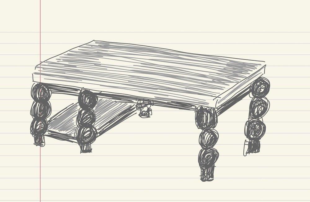 Original sketch of kitchen island with custom legs