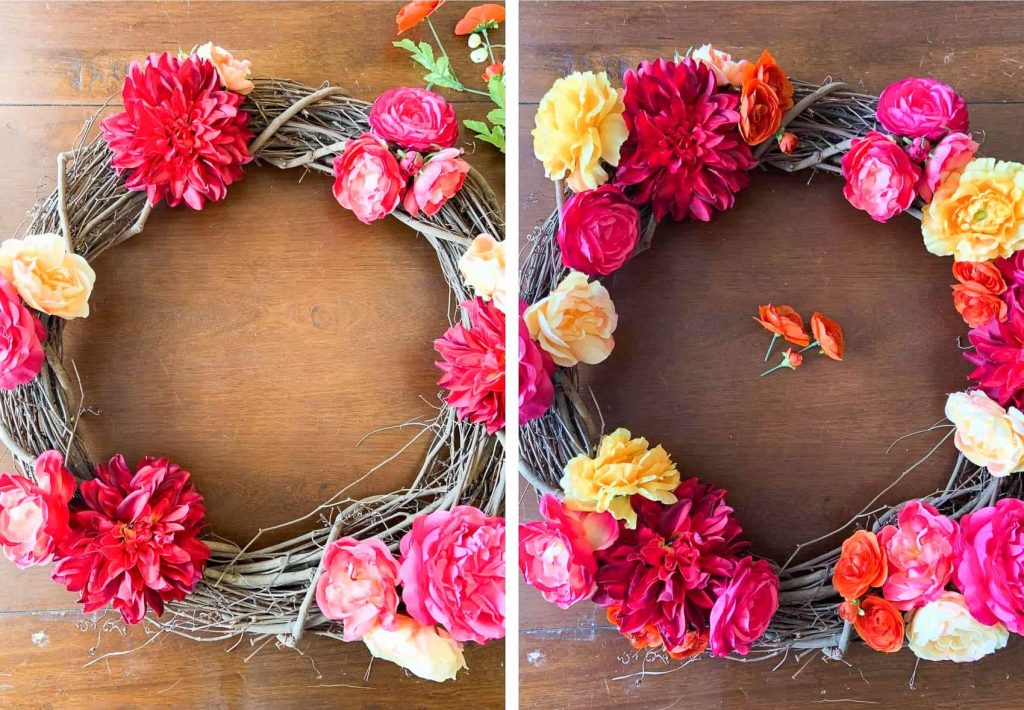 Fill in flower groups for spring wreath