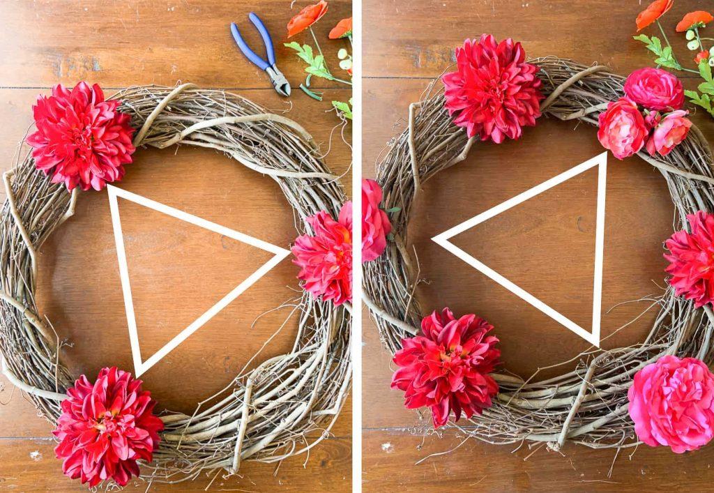 Arrange flowers using a triangle shape as a guide