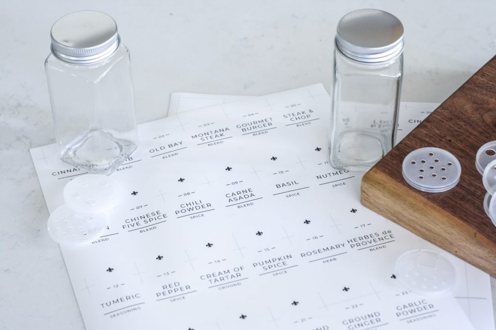 print custom spice labels on sticker sheets to cut out