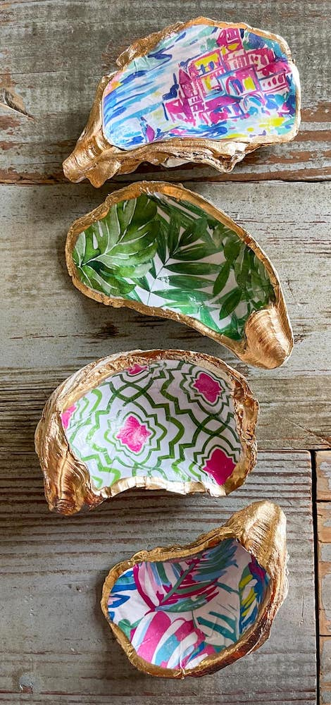oyster shell jewelry dishes in multiple patterns