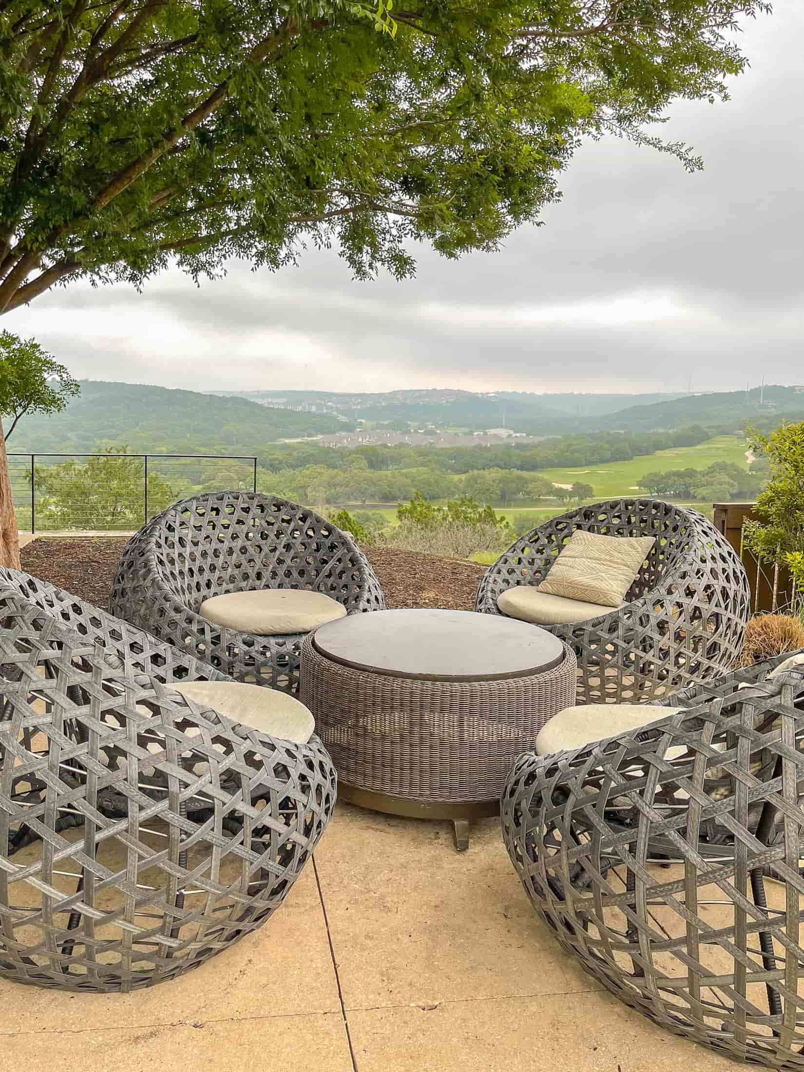 chairs overlooking Texas Hill Country