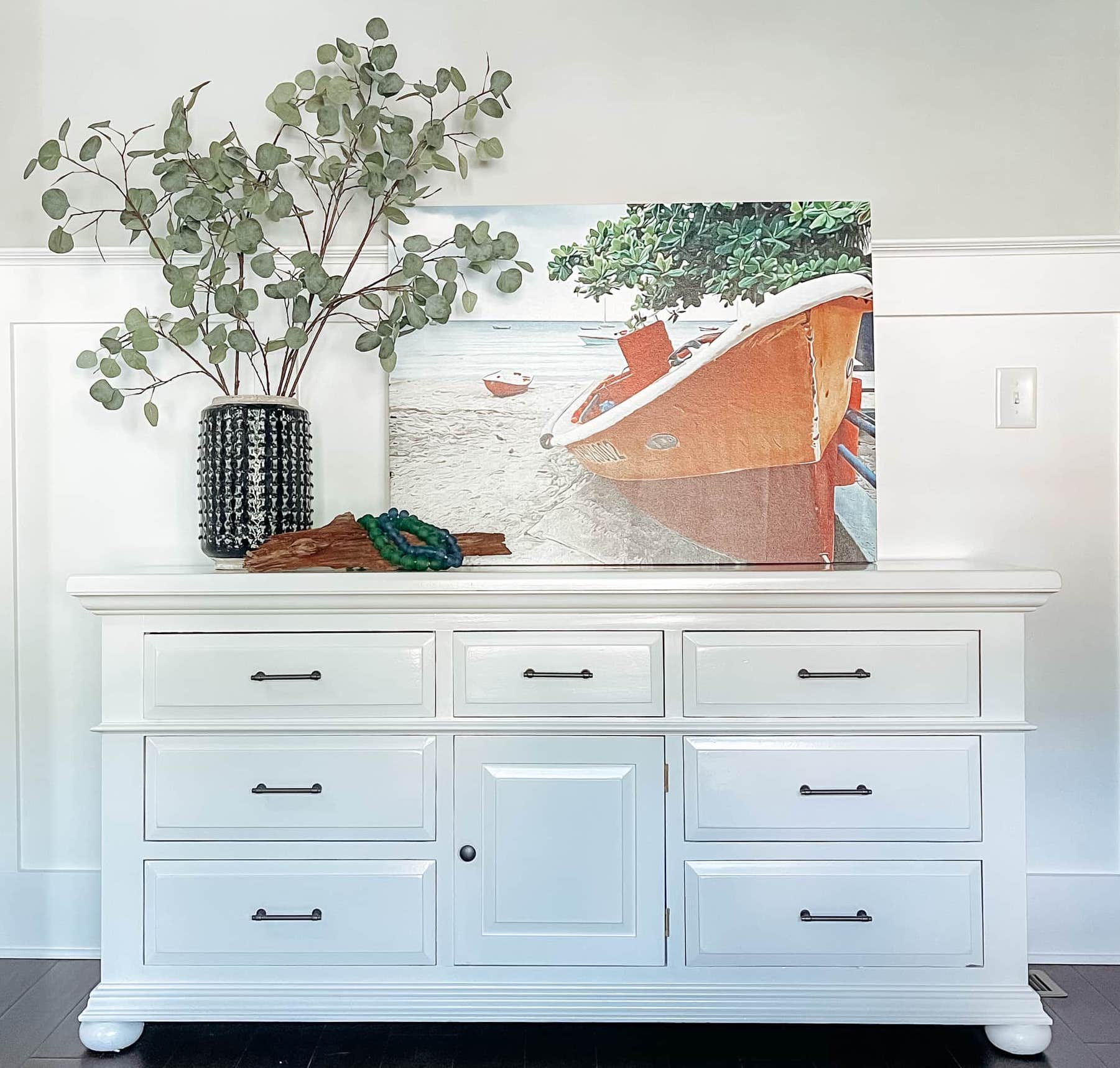 white broyhill dresser refinished in semi gloss paint